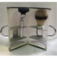 Shave Set - 3044 Mach 3 - White Shave Brush & Razor