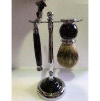 Shave Set - Comoy 3012 - with Badger & Mac3 - Black