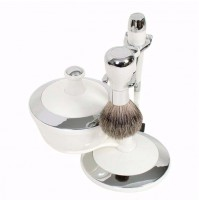 Shave Set - Mach 3 Razor with Bowl - White & Chrome