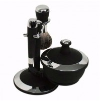 Shave Set - Comoy - with Mac 3 & Shave Bowl - Black